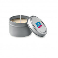 Small candle in tin box